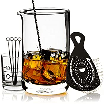 Cork & Mill Cocktail Mixing Glass Set - Old Fashioned Kit - 24 oz  700 ml  Crystal Stirring Glass for Bartending - 9-Piece Bar Accessories and Tools Set with Strainer Spoon Jigger Picks  Black