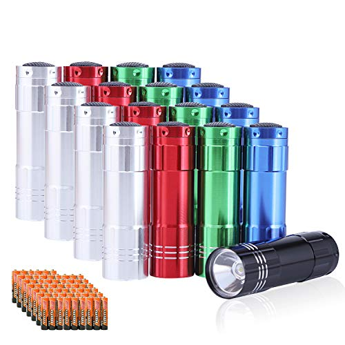 Yikosam 20 Pack of Flashlights 9 LED Mini Aluminum Flashlight With Lanyard 60 AAA Batteries Included Assorted Colors Handheld Flashlights For Hurricane Supplies Camping, Night Reading, Cycling