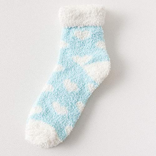 Candy Warm Lady Heart Cute Winter Kawaii Grueso Casual Mujer Calcetines Fuzzy Fluffy Terry Warm Calcetines Cortos Lindos Calcetines de algodón Mujer-Love Light Blue