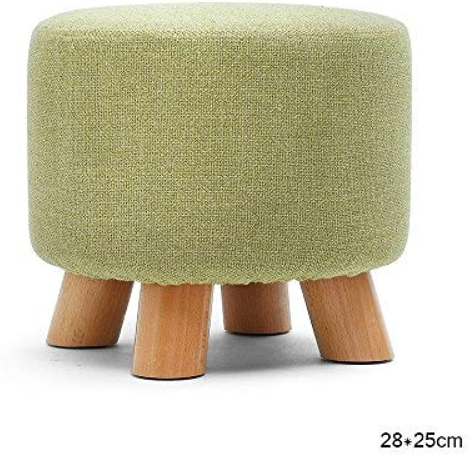 YZH Round 4 Wooden Leg Upholstered Footstool, Living Room Reception   Beauty Salon Barber Shop Fashion Chair Stool