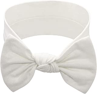 BABYGIZ Baby Girl Headbands With Bows Infant,Toddler Cotton Handmade Hairbands Child Hair Accessories (White, 1)