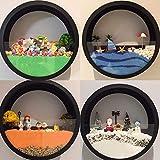 UK U - Terrario de metal para colgar en la pared, color negro, para decoración de pared, diseño de círculo morden para plantas de aire, suculentas interiores