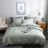 Set di biancheria da letto 200 x 220 cm, verde, grigio, antracite, tinta unita, biancheria da letto 100% morbida e piacevole microfibra + 2 federe 80 x 80 cm