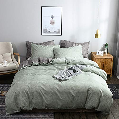 Juego de ropa de cama Altrosa gris antracita, reversible, 100% microfibra suave, 1 funda nórdica de 135 x 200 cm + 1 funda de almohada de 80 x 80 cm, Color verde y gris., 200x200cm+80x80cm*2
