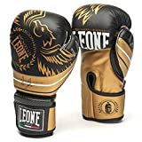 LEONE 1947 Boxing Gloves LEGIONARIVS Leather MMA Muay Thai Kick Boxing K1 Karate Training Punching Gloves (Black, 10oz)