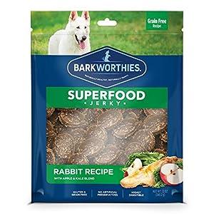 Barkworthies All-Natural Superfood Dog Treats (12oz. Bag) – Rabbit with Apple & Kale Jerky Treats