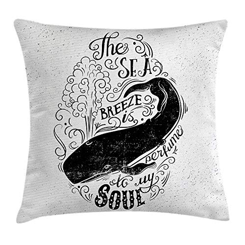 Whale Throw Pillow Cushion Cover, Breeze is Perfume to My Soul Phrase with Vintage Label Whale Marine Life Graphic, Decorative Square Accent Pillow Case, 18 X 18 Inches, Black White