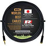 15 Foot - Quad Balanced Headphone Extension Cable Custom Made by WORLDS BEST CABLES – Using Mogami 2893 Wire and Neutrik-Rean NYS231BG Male & NYS240BG Female 3.5mm Gold TRS Plugs