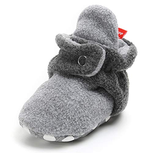 TIMATEGO Newborn Baby Boys Girls Cozy Fleece Booties with Grippers Stay On Slipper Socks Infant Toddler Crib Winter Shoes for Boys Girls, 12-18 Months...