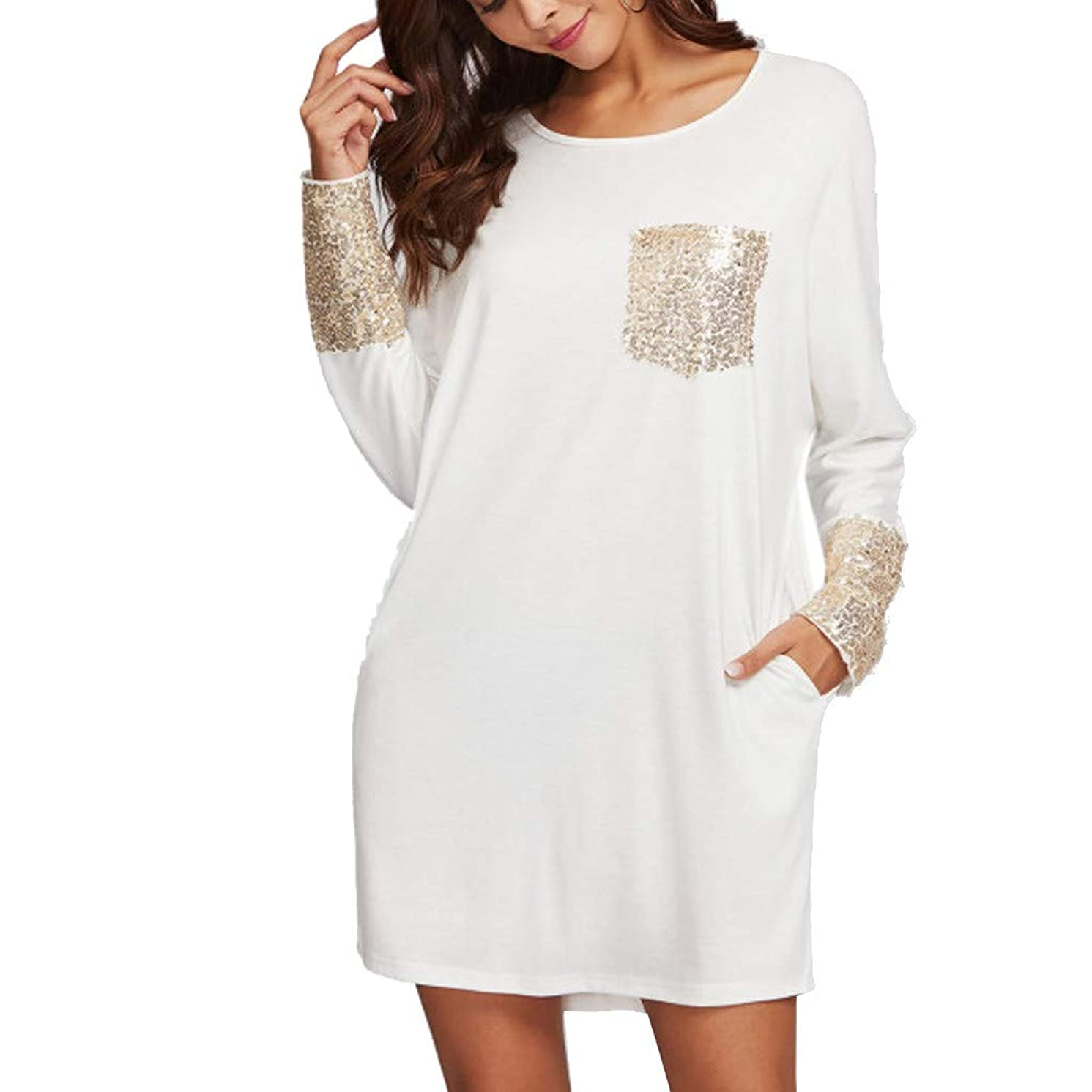 LEXUPA Fashion Womens Casual Sequined Pocket Long Sleeve Loose Round Neck Dress
