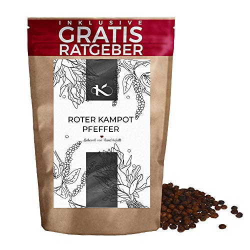 Kampot Pfeffer rot ganz 60g | Qualitäts echter Kampotpfeffer inkl Gratis Ratgeber | Gourmet Pfeffer rot für Pfeffermühle Reibe Gewürze im Nachfüllpack