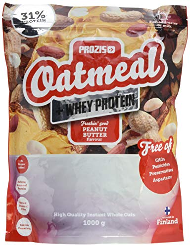 Prozis Oatmeal with Whey Protein 1000g, Farina D'Avena, Cereali Ricchi di Carboidrati di Alta Qualità e Fibre Sazianti, al Gusto Burro di Arachidi