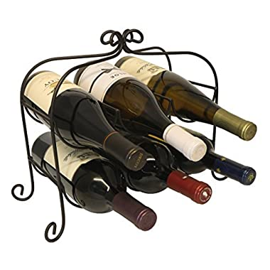 KitchenEdge Annabel 6 Bottle Metal Wine Rack for Tabletop or Countertop, Free Standing, Black, Wrought Iron