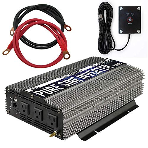 GoWISE Power 1500W Pure Sine Wave Power Inverter 12V DC to 120 V AC with 3 AC Outlets, 1 5V USB Port, 2 Battery Cables, and Remote Switch (3000W Peak) PS1005 (Brand Name/Packaging May Vary) (Renewed)