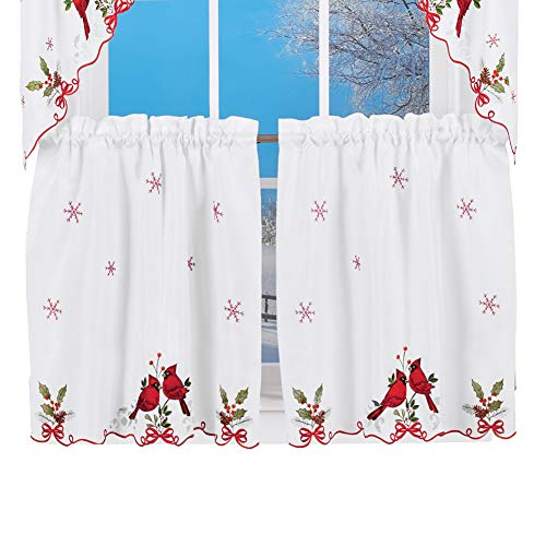 """Embroidered Winter Cardinals Window Curtain Panels Collection, Red, Green and White Christmas Accents, 24"""" L Tiers"""