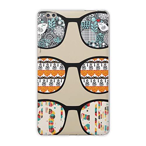 igcase dtab compact d-02k docomo dタブ 用 タブレット ケース タブレット カバー TPU ソフトケース 004877 ユニーク 眼鏡 サングラス イラスト