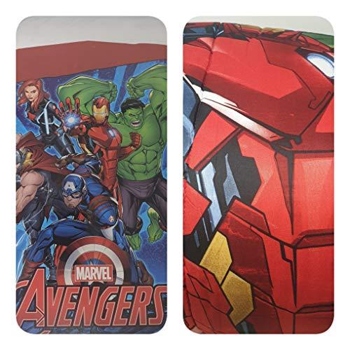 Marvel Avengers Winter-Steppdecke, 170 x 260 cm, Füllung 320 g/m², Superhelden Iron Man Captain America Thor Green Arrow Alfionapoli