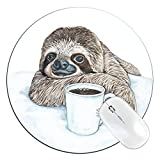 FannyD Coffee Sloth Unique 8' Round Mouse Pad, Low Profile (1/8') with Anti Slip Rubber Backing & Cloth Surface Featuring Art by Fanny Dallaire. for PC, Laptop, Mac (Coffee Sloth)