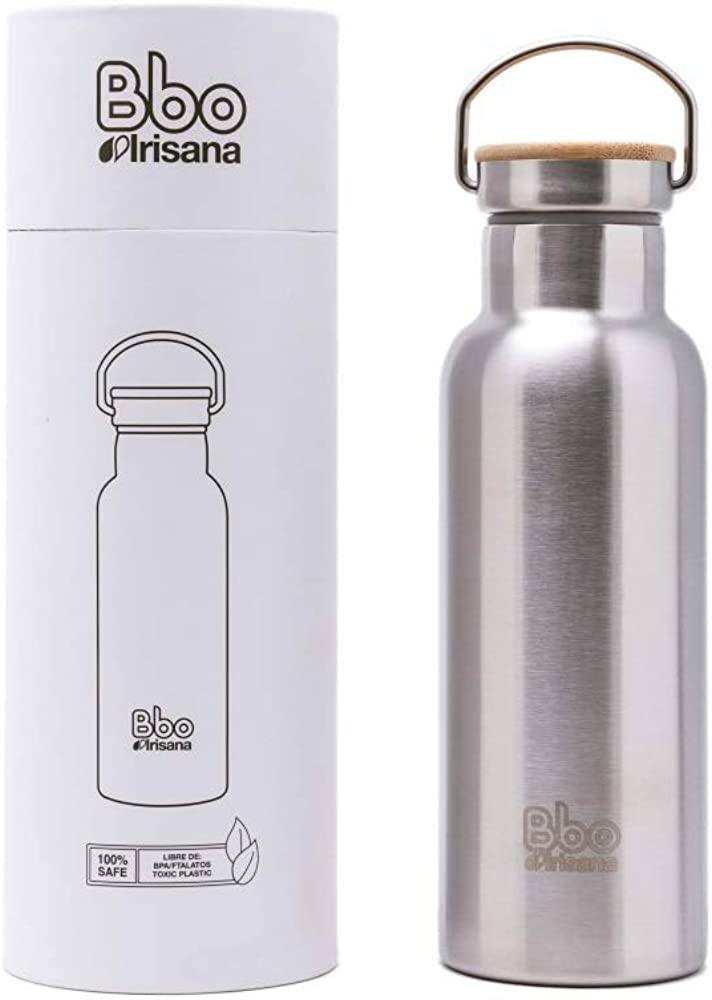 Irisana 72.Bbo14.AC Botella Termo con Tapón De Bambú, Sin género, Acero, 500 ml