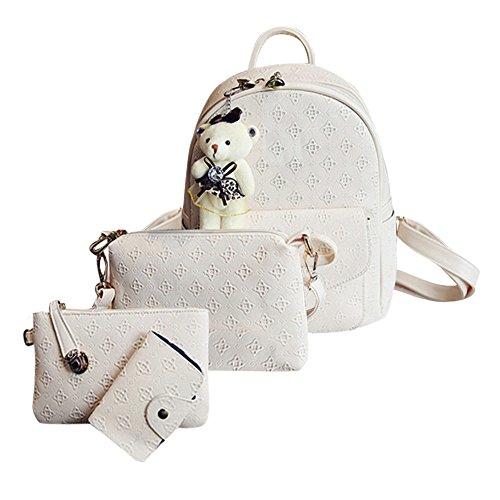 VJGOAL Damen Rucksack, 1 Sätze Frauen Mädchen Mode Rucksack Handtasche Schultertasche Schuleinkaufstasche Crossbody Frau Geschenke (4PCS, U-Beige)