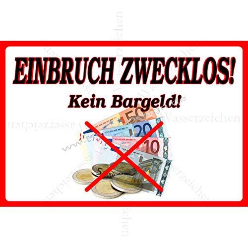 10cm! 2Stück!Aufkleber-Folie Wetterfest Made IN Germany Vorsicht Einbruch zwecklos kein Bargeld S902 UV&Waschanlagenfest-Auto-Vinyl-Sticker Decal Profi Qualität DigitalSchnitt