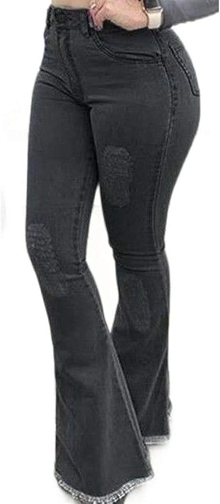 Kabxryaclo Womens Bell Bottom Jeans Vintage Fringe Solid High Waisted Washed Denim Flared Pants