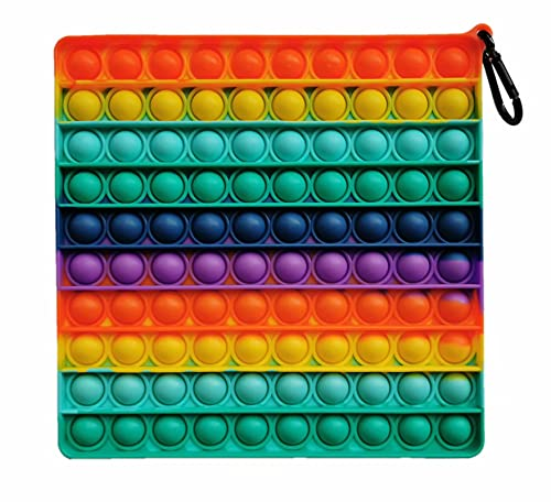 Clanam 1Pcs Big Size Push Jumbo Pop Bubble Fidget Sensory Toy, 8 Inch 100 Bubbles Fidget Toy,0 for Children Autism Special Needs and Adult Anxiety Stress Reliever Square Silicone Toy (Rainbow)