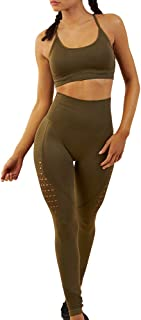 WodoWei Women's Workout Sets 2 Piece Outfits High Waisted Yoga Leggings and Sports Bra Gym Clothes