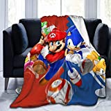 Halloween Su-per Mar-io Picnic Blankets Sonic and Mario Friends Flannel Blanket for Girls Kids Traveling Camping Home Bedding Living Sofa Throws Gifts for mom Halloween Decor 60X50 inch-Black4-80 x60