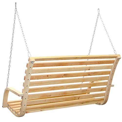 Hollywoodschaukel aus Holz Lärche Gartenschaukel Set Holzgestell mit 3-sitzer Holzbank Für Innen und Außen - 6