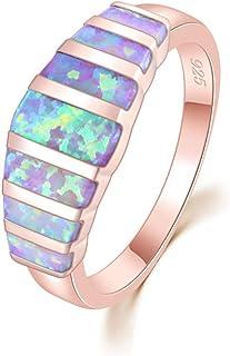 خواتم أوبال للنساء من CiNily ، تصميم أبيض أزرق وردي ناري أوبال مطلية بالفضة الأحجار الكريمة خاتم الحجم 5-13