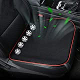 EnweKapu Cooled Seat Covers for Cars, Cooling Pad Summer, Ventilated Seat Cushion with 5 Low Noise Fans, Comfortable Breathable for Car Driver Seat Office Chair Home Use,Black
