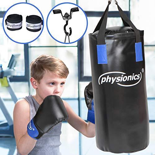 Physionics Set de Boxeo para Niños - Relleno, Ø28, H65cm, Peso 10kg, con Guantes 8oz+Cintas+Correas+Mosquetón+Fijación 360° - MMA Muay Thai Kick Boxing Artes Marciales, Equipo de Boxeo Infantil