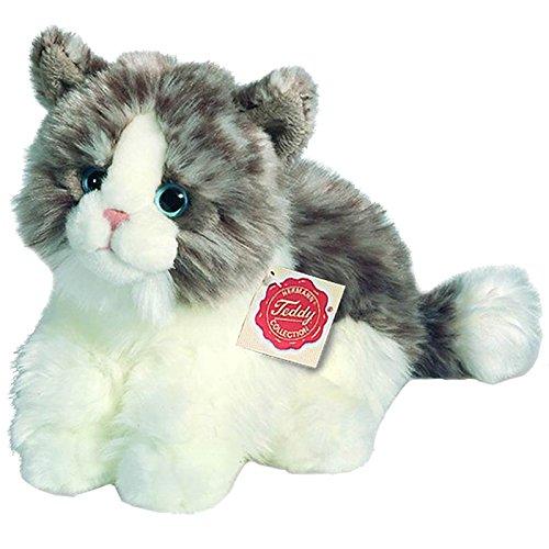 Hermann Teddy Collection 906728 - Plüsch-Katze sitzend, 23 cm, grau