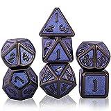 Schleuder Juego de Dados de rol Poliédricos, 7 Piezas DND Dice Set de Metal Aleación de Zinc Sólidos para D&D Dungeons and Dragons Juego de Mesa RPG MTG (Black Nickel - Purple)