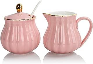 Sweejar Royal Ceramic Sugar and Creamer Set, 3 Piece Set with Cream Pitcher, Sugar Bowl, Sugar Set with Lid & Spoon, Coffee Serving Set Wedding Gift(Pink)