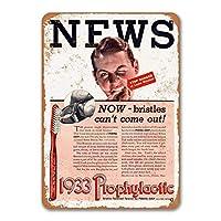 1933予防歯ブラシの看板、金属製の壁のポスターブリキの看板ヴィンテージディナールームホームキッチンバーベキューレストランの装飾8x12インチ