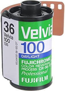 Fujifilm Fujichrome Velvia RVP 100 Color Slide Film ISO 100, 35mm Size, 36 Exposure, RVP100-36, Transparency.