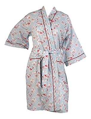 Ladies Vintage Floral Kimono Wrap 100% Cotton Womens Lightweight Dressing Gown Robe (Small - Large)