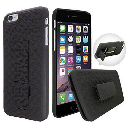 Customerfirst - Shell Holster Combo Case for Apple iPhone 6 (4.7 inches) Screen with Kick-Stand & Belt Clip - Fits At&t, Verizon, T-Mobile & Sprint (iPhone 6 / iPhone 6s 4.7 inches) + Flash Keychain
