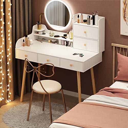 ZRN Frisierkommode Moderner Schlafzimmer Make-up Schminktisch mit 5 Schiebeschubladen und gepolstertem Hocker für Mädchen Frauen Geschenke (grün, weiß)