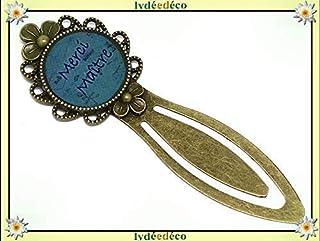 Segnalibri libro resina Grazie Maestro scrittura blu verde turchese ottone bronzo pregali personalizzati Natale amici madr...