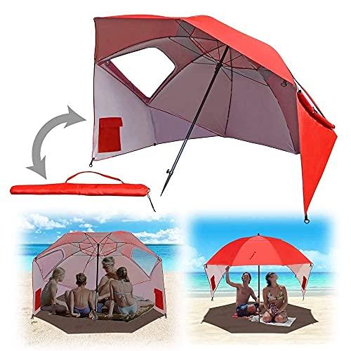 BAIYAN Ombrello, Beach Anti-UV e Pioggia ombrellone, Ombrello da Pesca, Tenda da Spiaggia Portatile UPF 50 ombretto da Sole ombrellone con Pavimento allungabile - Four-Color