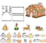 Juego de 18 cortadores de galletas de Navidad de acero inoxidable, moldes de metal para hornear, herramientas para hornear, 3D, Navidad, pan de jengibre, para decoración de Navidad