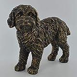 Prezents.com Large Cockapoo Dog Standing Cold Cast Bronze Resin Sculpture - Pet Gifts Stand Out Home Decor H17cm