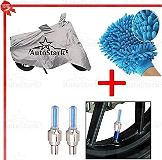 AutoStark AK-C195-SLR-69 Bike Body Cover, Tyre LED Light and Cleaning Gloves for Passion Pro TR (Set of 3, Silver and Blue)