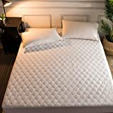 Hani Minna Premium Quilted Fitted Mattress Pad Protector Made with Natural Combed Cotton - Cooling and Breathable Mattress Topper (King)