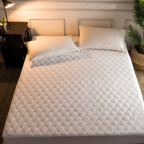 Hani Minna Premium Quilted Fitted Mattress Pad Protector Made with Natural Combed Cotton - Cooling and Breathable Mattress Toppe