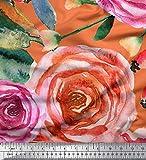 Soimoi Orange Viskose Chiffon Stoff Blätter & Rose Blume
