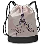 OKIJH Sac à dos Sac à dos de loisirs Sac à cordon Sac à dos multifonctionnel Sac de sport Luggage Backpack France Hand Drawn Romantic Eiffel Tower Gym Drawstring Bags Backpack Sports String Bundle Bac